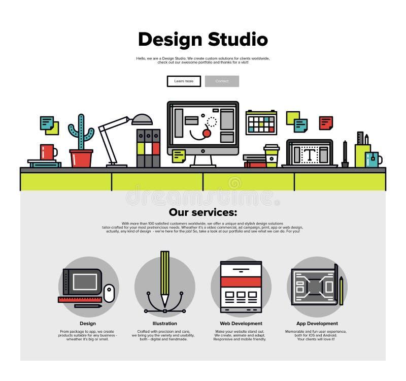Linje rengöringsdukdiagram för designstudiolägenhet stock illustrationer