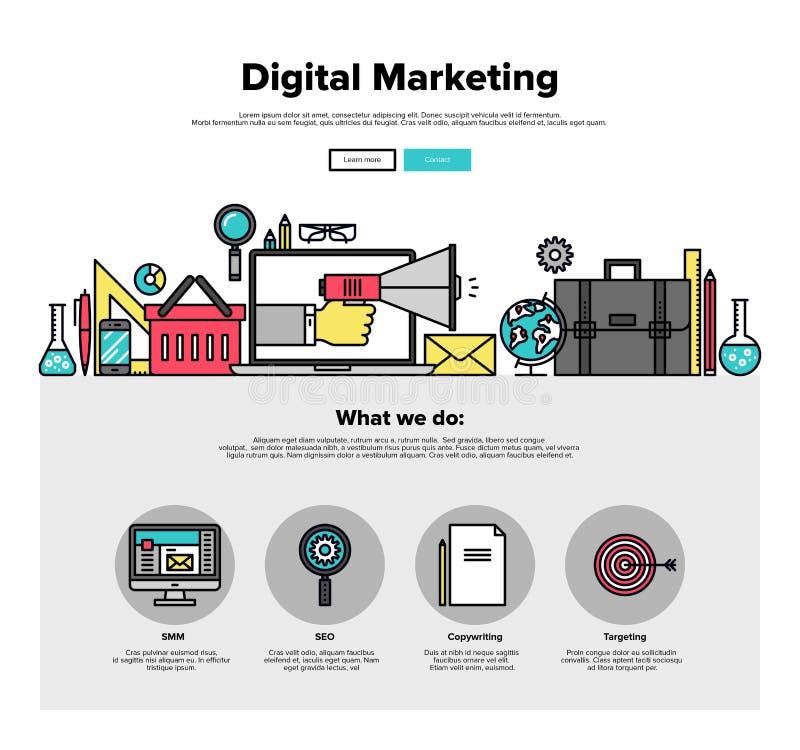 Linje rengöringsdukdiagram för Digital marknadsföringslägenhet vektor illustrationer