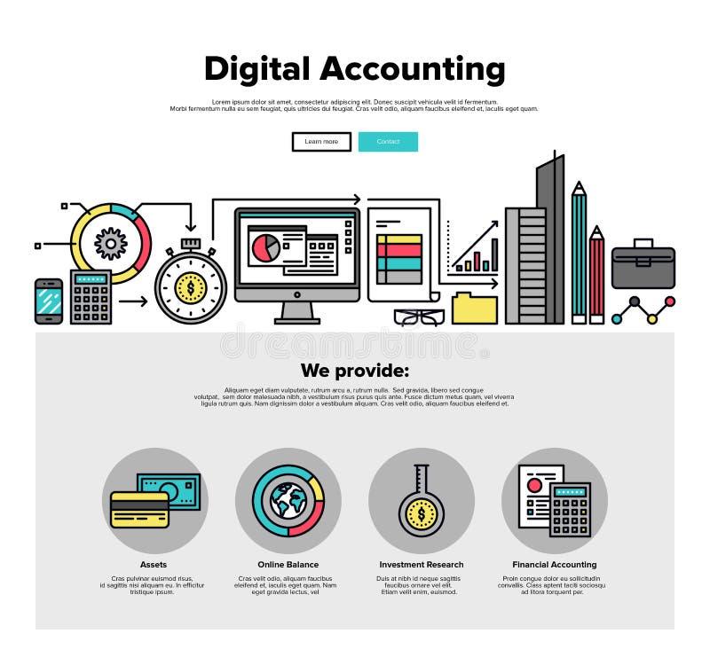 Linje rengöringsdukdiagram för Digital redovisningslägenhet stock illustrationer
