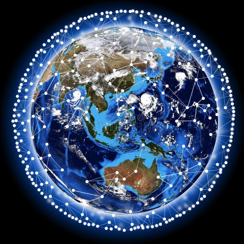 Linje runt om jorden royaltyfria bilder