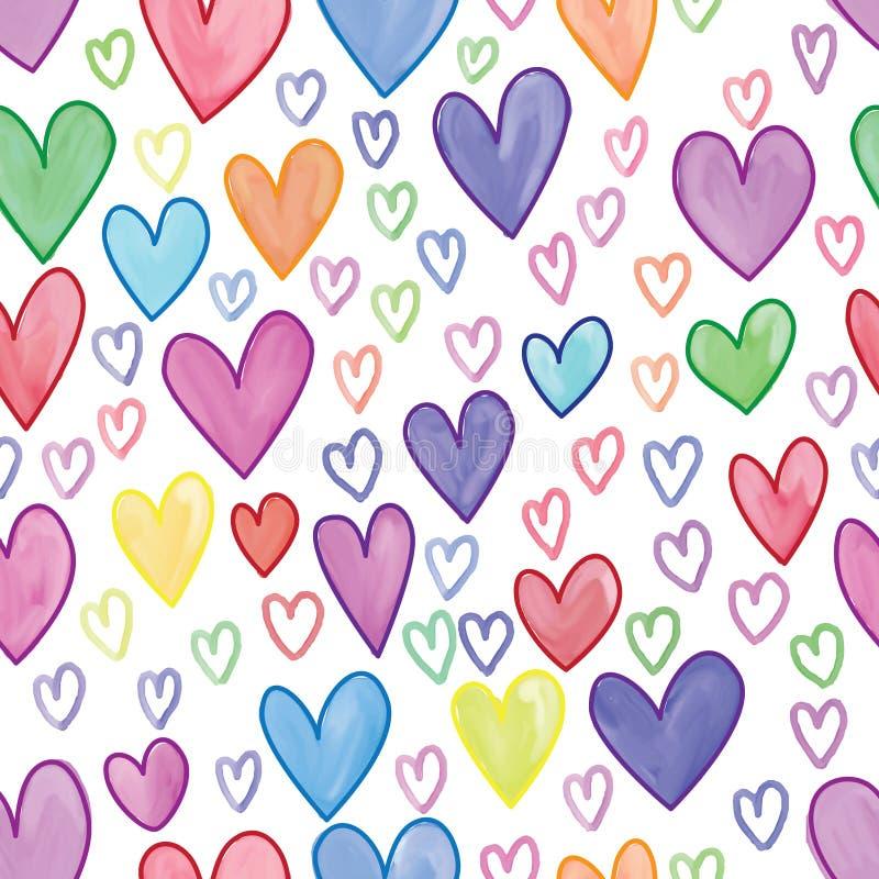 Linje sömlös modell för förälskelsehjärtavattenfärg stock illustrationer