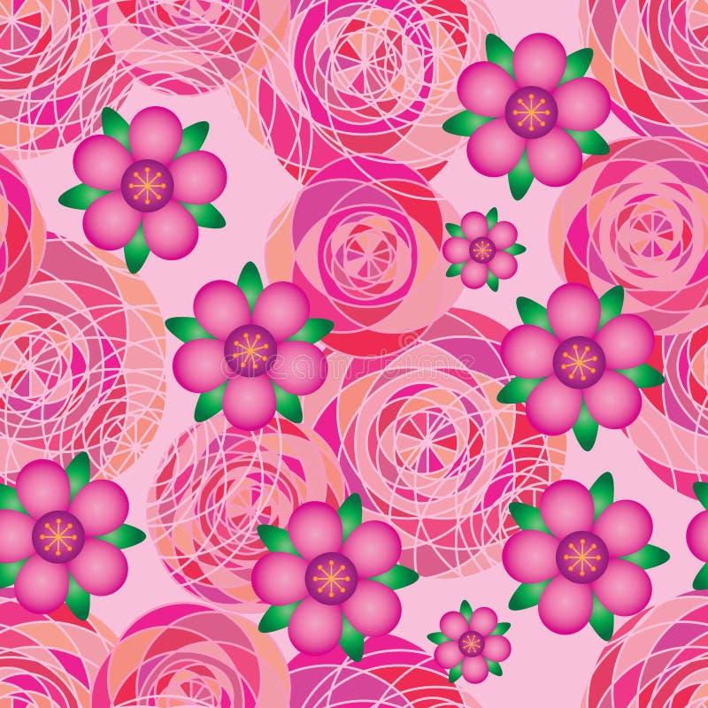 Linje sömlös modell för geo för blommalutning rosa för dekor stock illustrationer