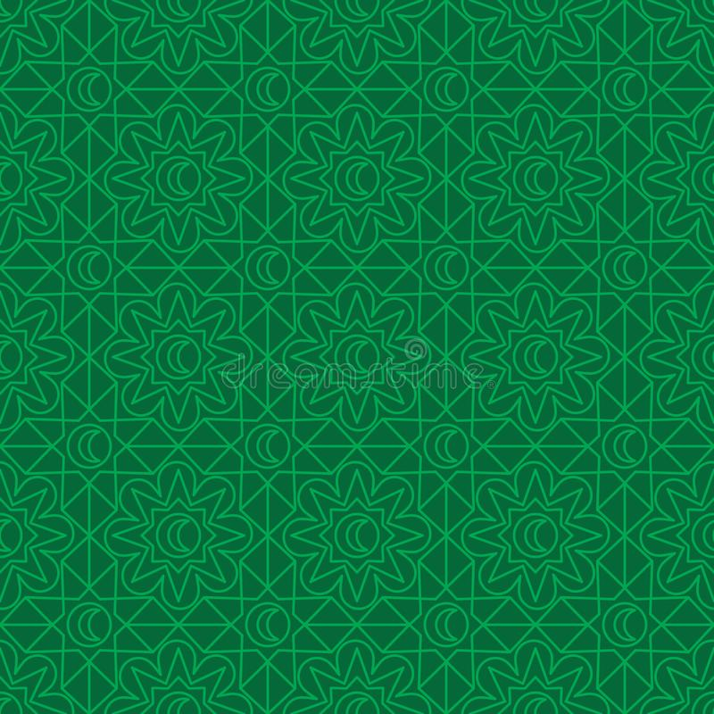 Linje sömlös modell för måne för Ramadanstjärnablomma för symmetri stock illustrationer