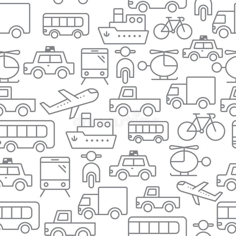 Linje sömlös modell för symboler, transport royaltyfri illustrationer