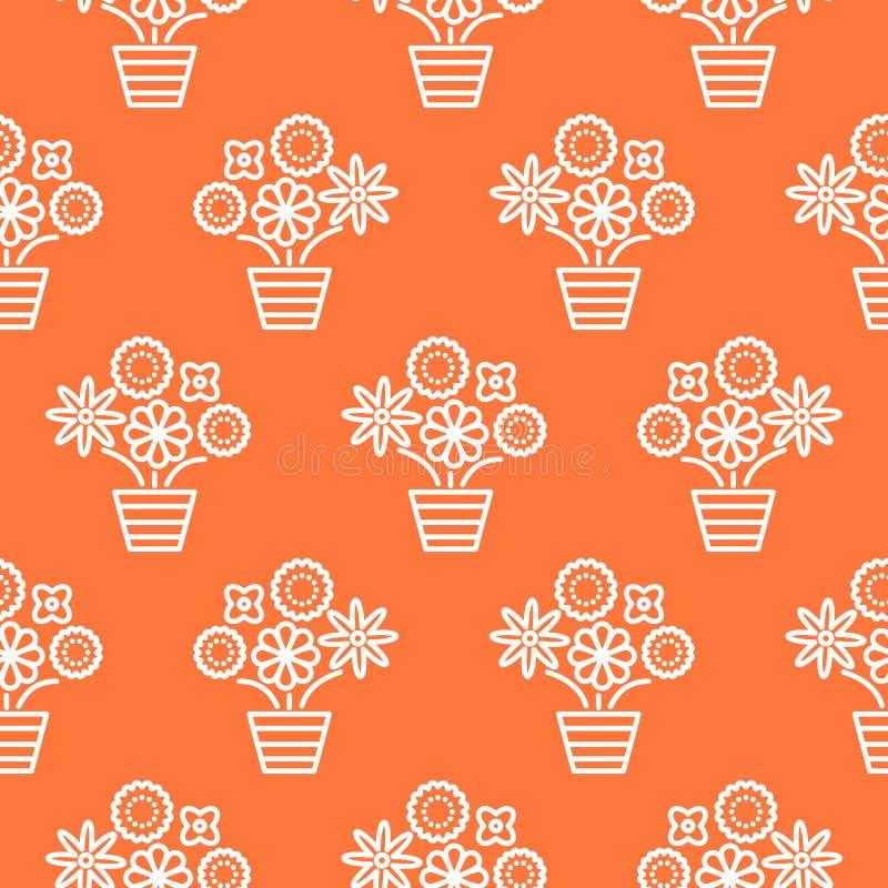 Linje sömlös vektor för apelsin för korall vit och för blomkrukor royaltyfri illustrationer