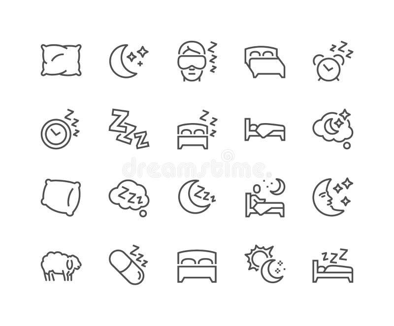 Linje sömnsymboler stock illustrationer