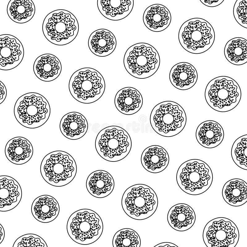 Linje söt bakgrund för munkefterrättbakelse stock illustrationer