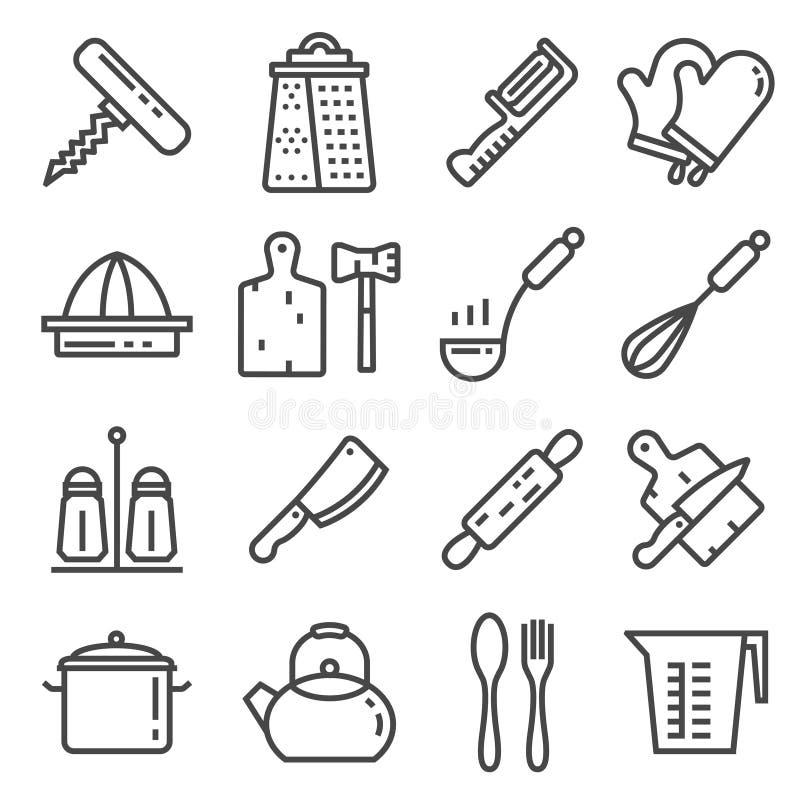 Linje samling för kökredskaphjälpmedel - kontur royaltyfri illustrationer