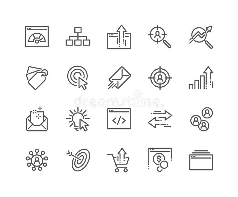 Linje SEO Icons royaltyfri illustrationer