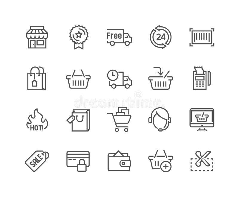 Linje shoppingsymboler royaltyfri illustrationer