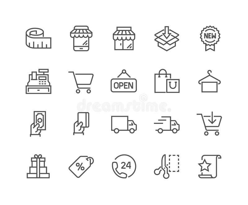 Linje shoppingsymboler vektor illustrationer