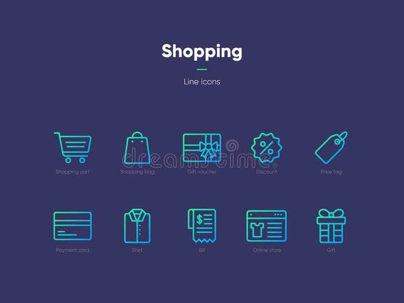 Linje shoppingsymboler royaltyfri foto