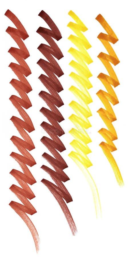 Linje sicksackmarkör Guling apelsin, brunt stock illustrationer