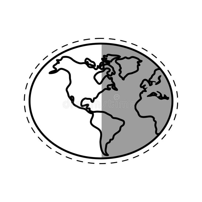 linje skugga för teknologi för anslutning för jordklotvärldsjord vektor illustrationer