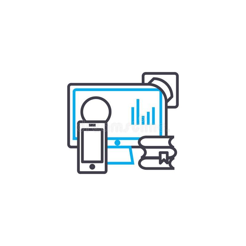 Linje slaglängdsymbol för vektor för informationskällor tunn Informationskällor skisserar illustrationen, det linjära tecknet, sy royaltyfri illustrationer