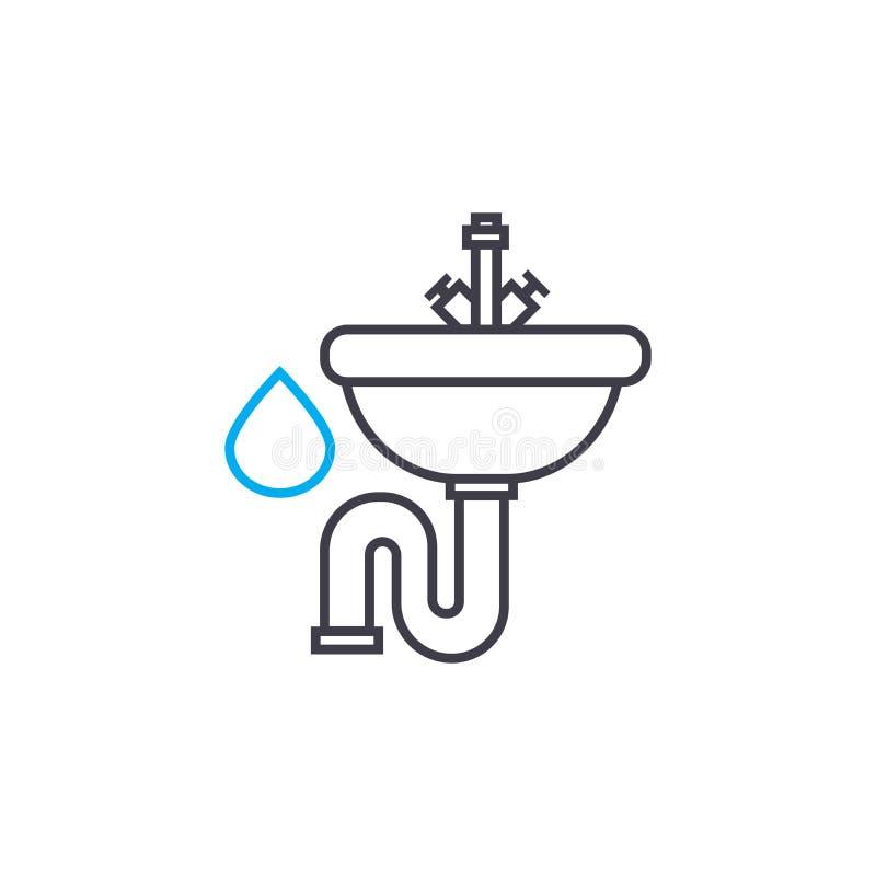 Linje slaglängdsymbol för vektor för vattenförsörjningsystem tunn Illustration för vattenförsörjningsystemöversikt, linjärt tecke vektor illustrationer