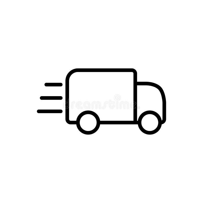linje snabb symbol för leveranslastbil på vit bakgrund stock illustrationer