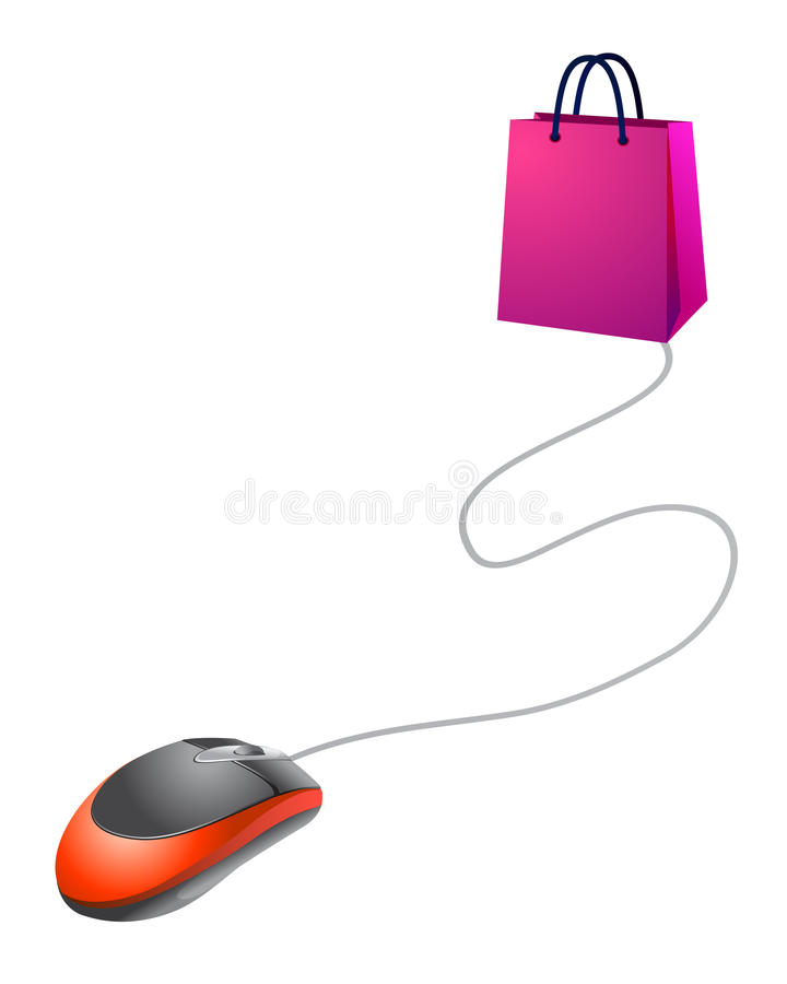 linje som gör shopping vektor illustrationer