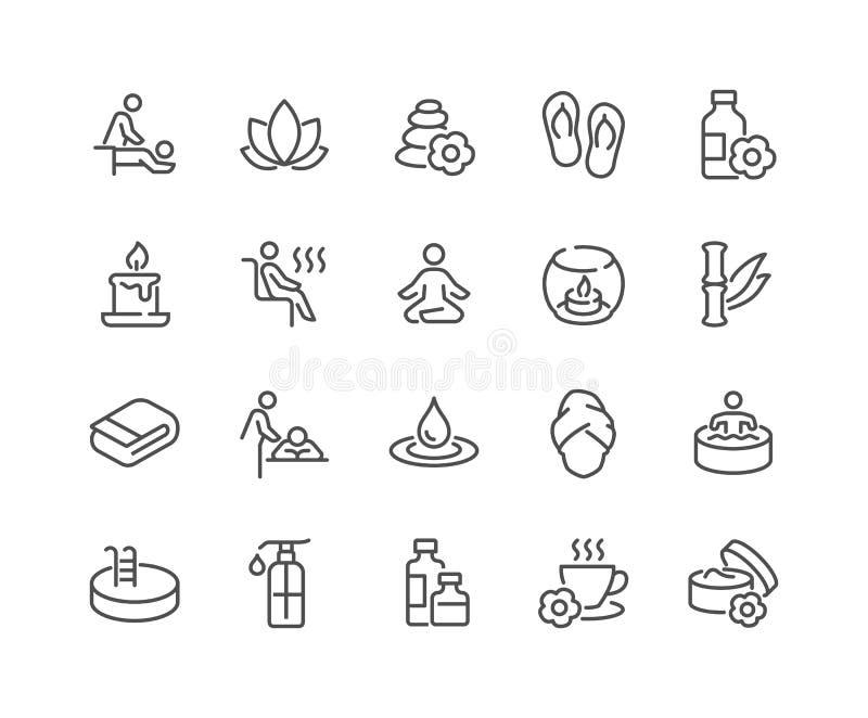 Linje SPA symboler royaltyfri illustrationer