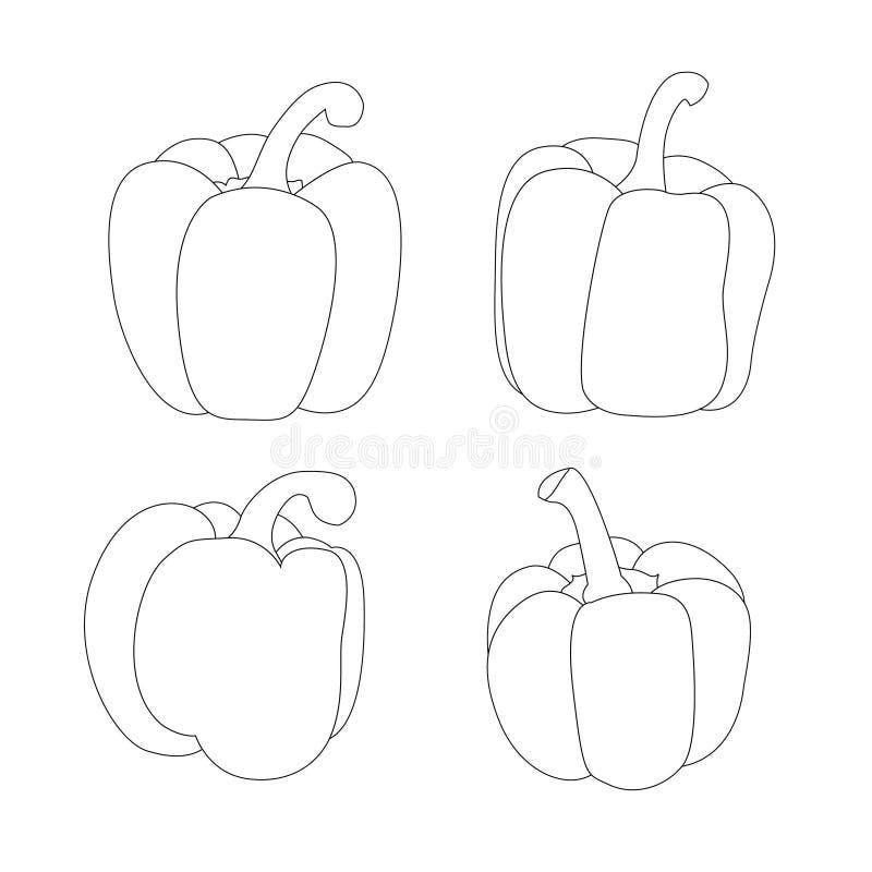 Linje spansk peppar som isoleras p? vit bakgrund vektor illustrationer