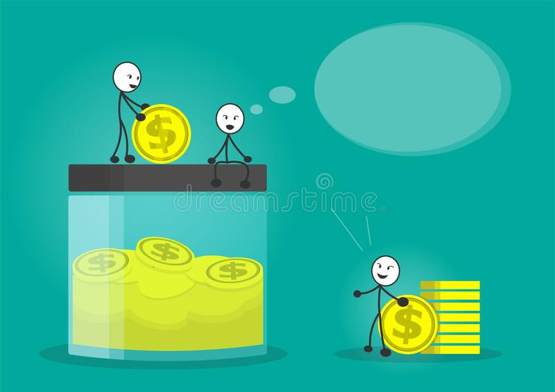 Linje sparande pengarvektor för man royaltyfri illustrationer