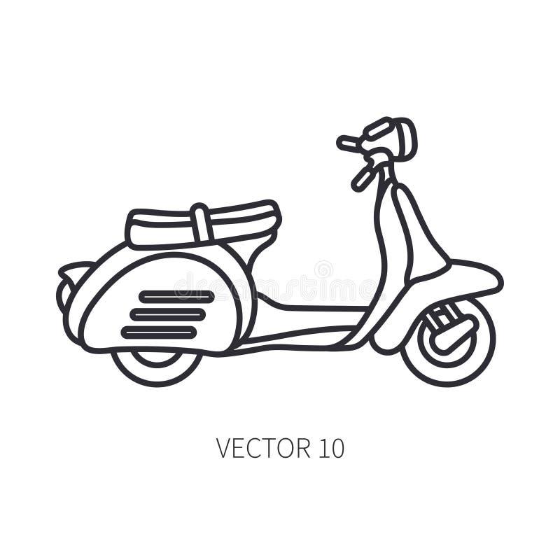 Linje sparkcykel för turism för vektorsymbol retro Klassisk 50-talstil Motorcykel för nostalgisubcompactantikvitet barn för kvinn stock illustrationer