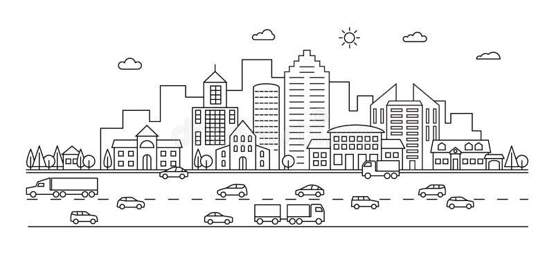 Linje stad Översiktsstadgata med byggnader och bilar Modernt vektorklottercityscape och trans. stock illustrationer