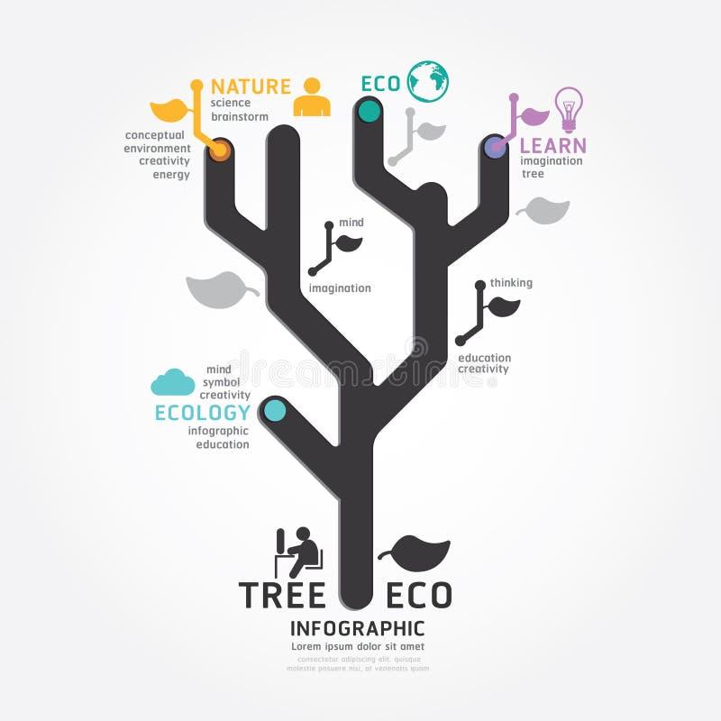 Linje stil för diagram för design för Infographics vektorträd stock illustrationer