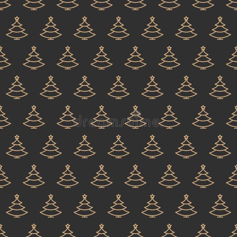 Linje stil för färg för sömlös modell för julgran guld- på svart bakgrund stock illustrationer