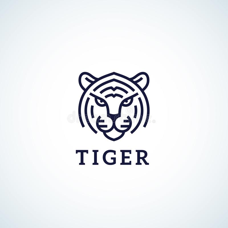Linje stil Tiger Face Abstract Vector Icon, symbol eller Logo Template Löst djurt huvud Sillhouette med typografi stock illustrationer