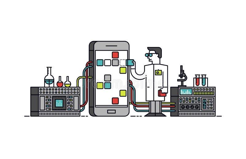 Linje stilillustration för App-forskningprocess stock illustrationer