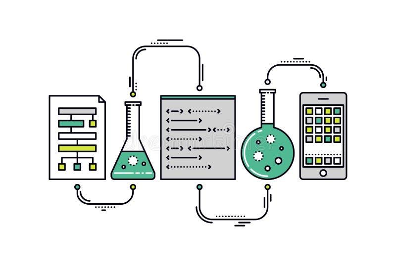 Linje stilillustration för vetenskapsdataforskning royaltyfri illustrationer