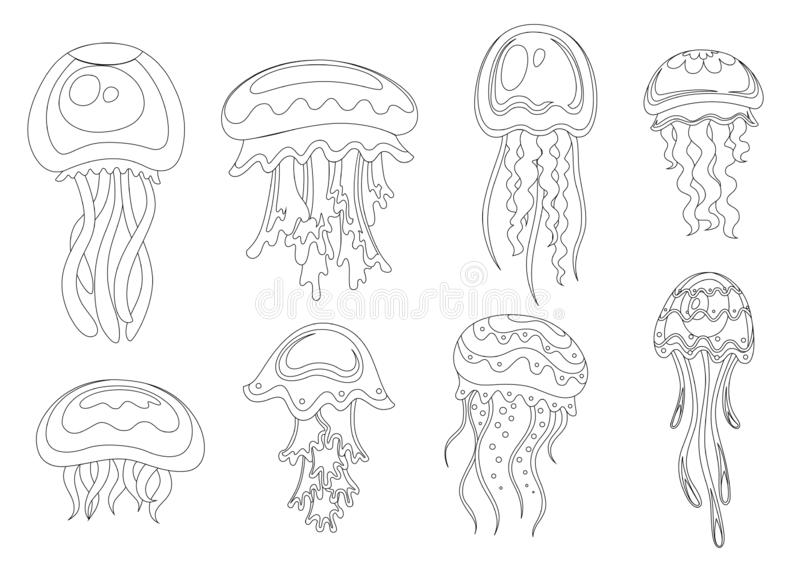 Linje stilsymbol St?ll in av havsmanet Tropiskt undervattens- djur Vatten- organism f?r Medusa, tecknad filmstildesign plant vektor illustrationer