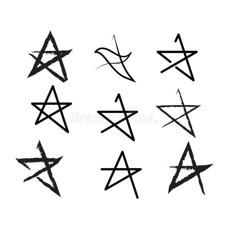 Linje stjärnasymbolsuppsättning Plan design vektor illustrationer