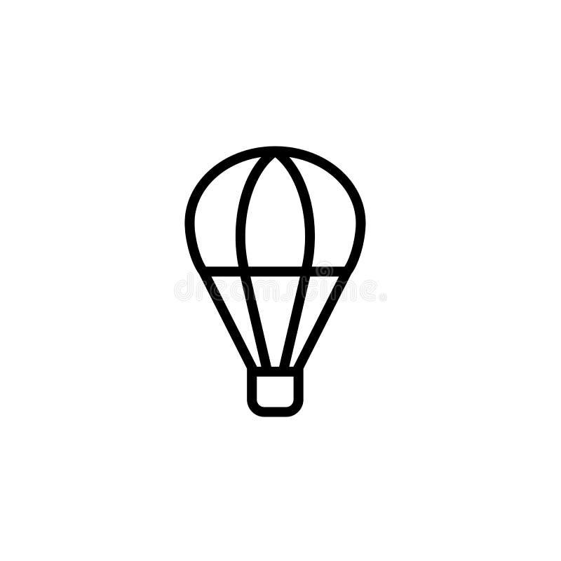 linje svart för symbol för ballong för varm luft tunn på vit bakgrund royaltyfri illustrationer