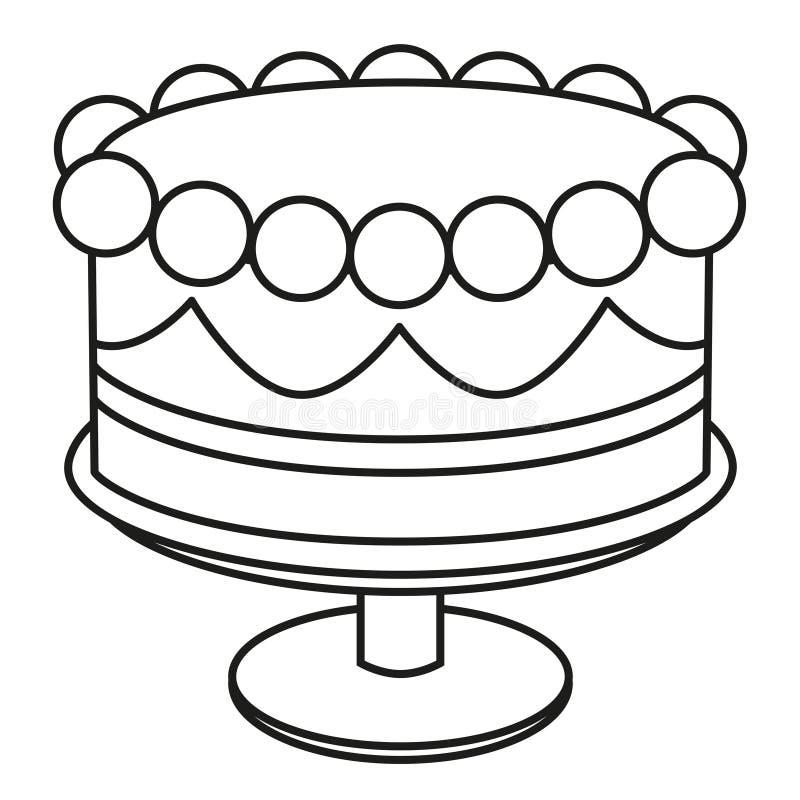 Linje svartvit födelsedagkaka för konst på ställning stock illustrationer