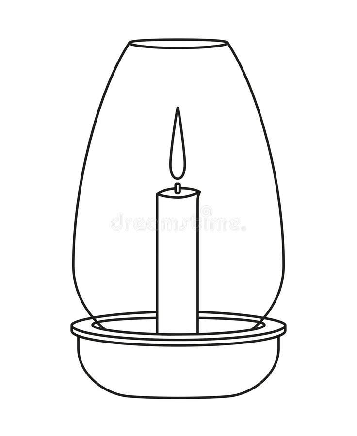 Linje svartvit matställestearinljus för konst royaltyfri illustrationer