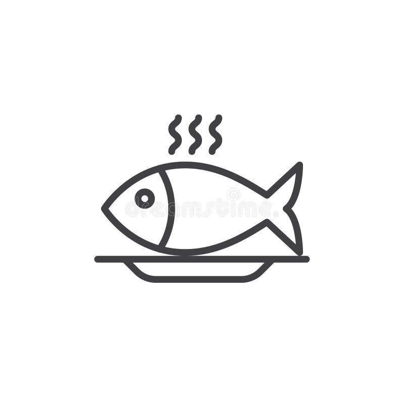 Linje symbol, översiktsvektortecken för fiskmat vektor illustrationer