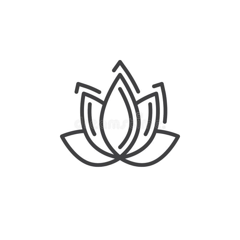 Linje symbol, översiktsvektortecken, linjär pictogram som för Lotus blomma isoleras på vit vektor illustrationer