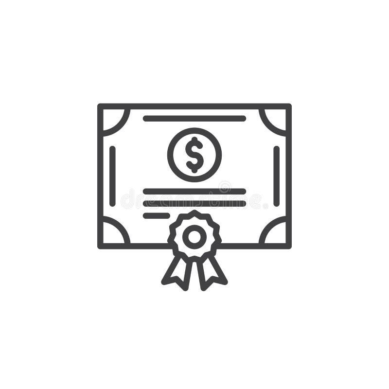 Linje symbol, översiktsvektortecken, linjär pictogram som för materielaktiecertifikat isoleras på vit royaltyfri illustrationer