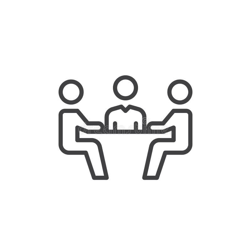 Linje symbol, översiktsvektortecken, linjär stilpictogram som för affärsmöte isoleras på vit Symbol logoillustration Redigerbar s stock illustrationer