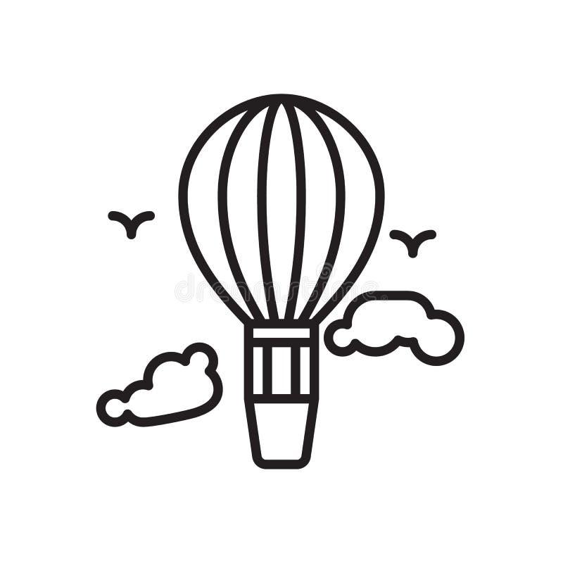 Linje symbol, översiktsvektortecken, linjär stilpictogram som för ballong för varm luft isoleras på vit royaltyfri illustrationer