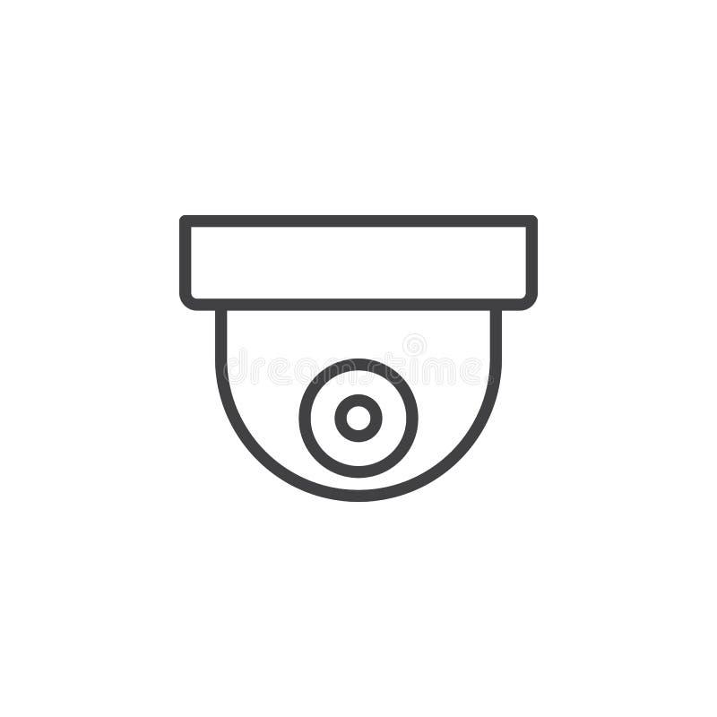 Linje symbol, översiktsvektortecken, linjär stilpictogram som för bevakningkupolkamera isoleras på vit stock illustrationer