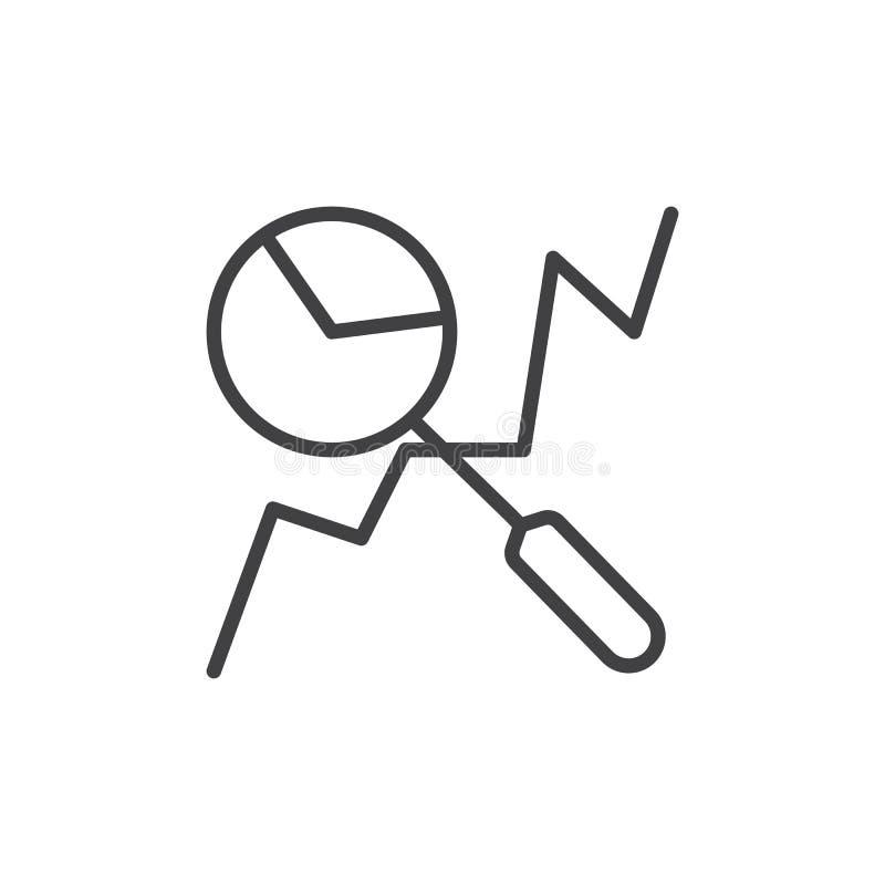 Linje symbol, översiktsvektortecken, linjär stilpictogram som för dataanalys isoleras på vit stock illustrationer