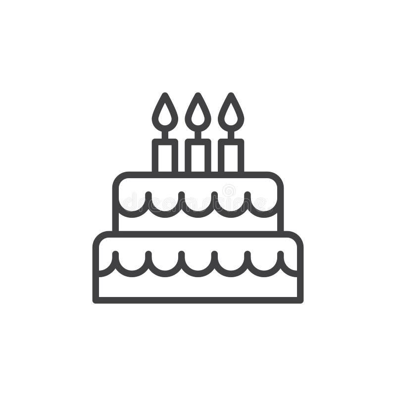 Linje symbol, översiktsvektortecken, linjär stilpictogram som för födelsedagkaka isoleras på vit stock illustrationer