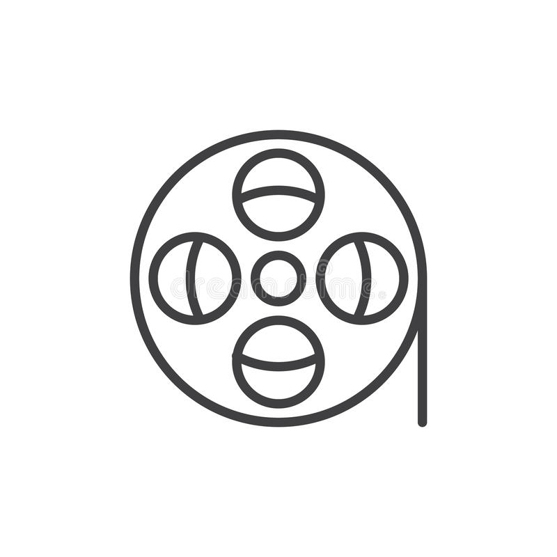 Linje symbol, översiktsvektortecken, linjär stilpictogram som för filmrulle isoleras på vit vektor illustrationer
