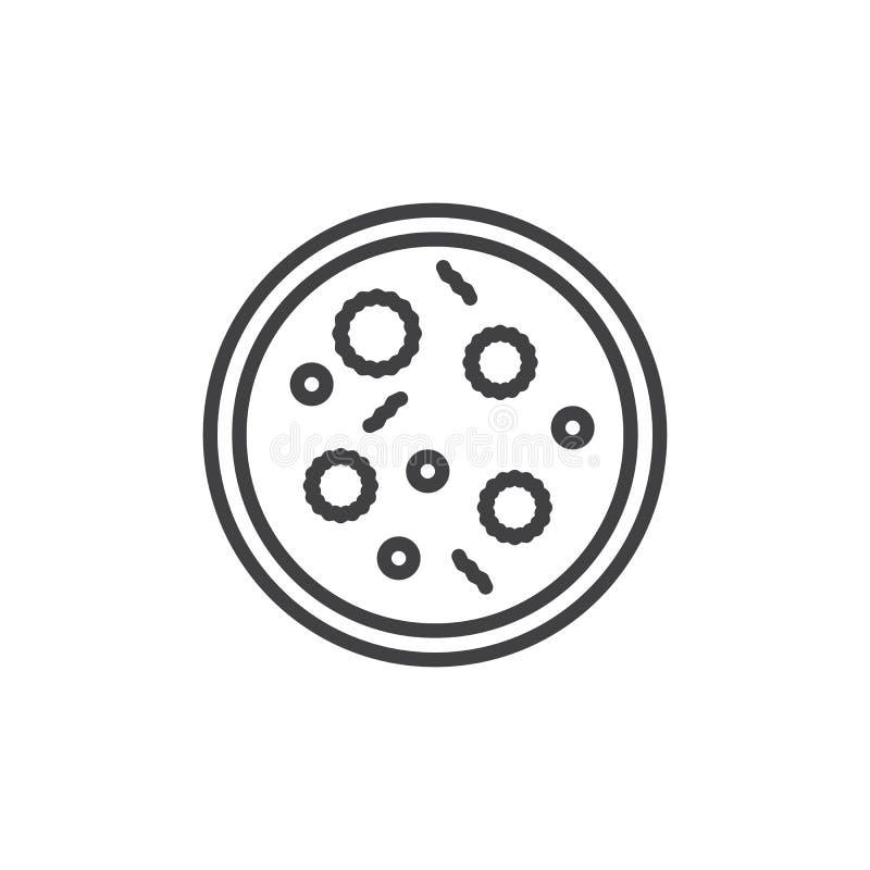 Linje symbol, översiktsvektortecken, linjär stilpictogram som för Petri maträtt isoleras på vit stock illustrationer