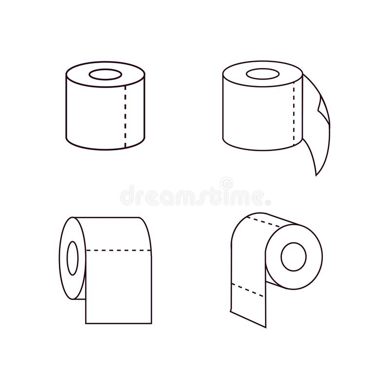 Linje symbol, översiktsvektortecken, linjär stilpictogram som för rulle för toalettpapper isoleras på vit Symbol logoillustration stock illustrationer