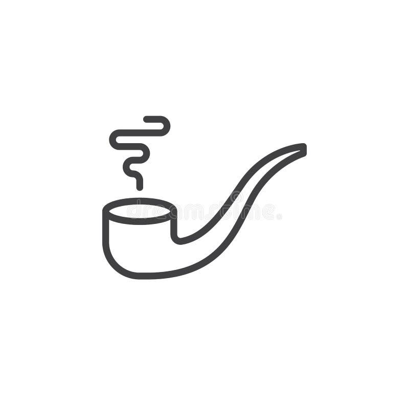 Linje symbol, översiktsvektortecken, linjär stilpictogram som för tobakrör isoleras på vit stock illustrationer