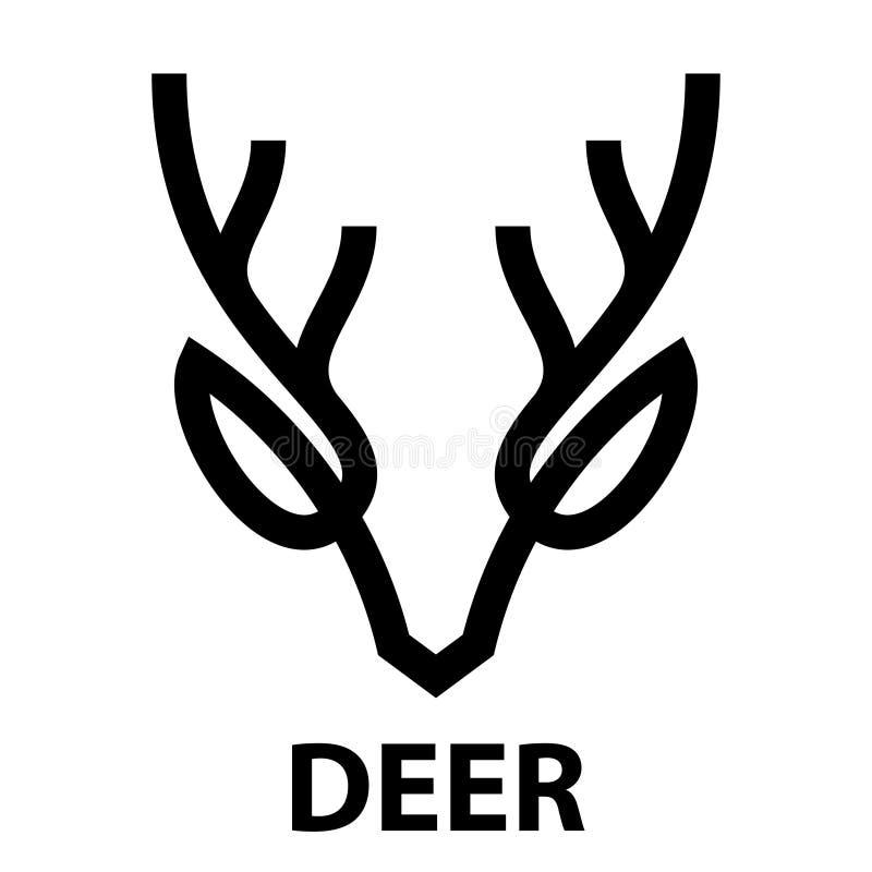 Linje symbol av hjorthuvudet stock illustrationer